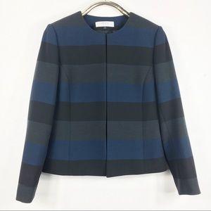 Stripe Blazer Blue Black Tahari Arthur Levine 10